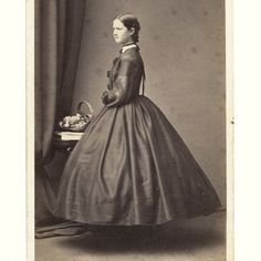 Little SISTER, Younger DAUGHTER of FAMILY of 3 in IDENTICAL CRINOLINE HOOPSKIRTS