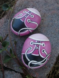 Tennis Shoes - Hand Painted Rocks, by MyGardenRocks via Etsy.