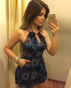 Macaquinho lindo 💙 ▫️89,90 Girly Outfits, Sexy Outfits, Casual Outfits, Summer Outfits, Cute Outfits, Look Fashion, Girl Fashion, Womens Fashion, Elegante Shorts