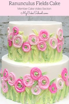 Ranunculus Fields Cake- Painting with Buttercream Cake Decorating Video Tutorial by MyCakeSchool.com