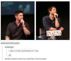 Jensen & Misha catch things (gif)