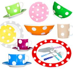 Polka dots tableware by Sabre #decoration #homedecor #home #tableware #dots