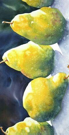 Trendy fruit still life watercolor pears Watercolor Fruit, Fruit Painting, Watercolor Artists, Watercolor And Ink, Watercolour Painting, Watercolor Flowers, Watercolours, Art Aquarelle, Watercolor Pictures