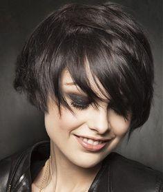 A short black straight choppy bob hairstyle by Fabio Salsa