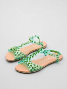 Today's So Shoe Me is the Puffer by Jeffrey Campbell, $117, available at Lori's Shoes. Neon PVC with allover tonal spikes makes for a must have sandal that will have just about everyone green with envy when you strut by.
