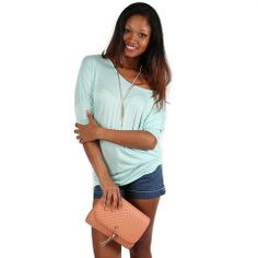 My Favorite Tee in Seafoam   Impressions Online Women's Clothing Boutique  This soft tee will your new favorite! Pair it with skinnies, skirts, cut offs, you decide!