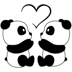 Cute Drawings: Bears, teddy bears and pandas Cute Panda Drawing, Cute Kawaii Drawings, Cool Art Drawings, Love Drawings Couple, Teddy Bear Drawing, Heart Drawings, Cute Drawings Of Love, Puppy Drawing, Wall Drawing