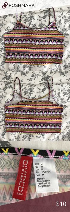 Colorful Aztec Crop Top Worn only once, super soft crop top perfect for a hot summer day! H&M Tops Crop Tops