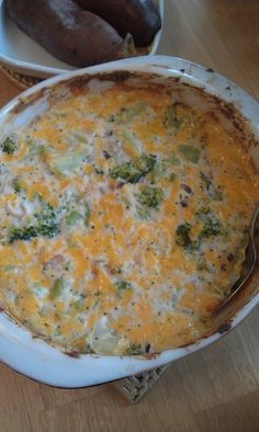 "Broccoli Cheddar Casserole -   ""This is based on a recipe for a main dish casserole using chicken, but I've halved and eliminated and substituted to make it a really tasty side dish."""
