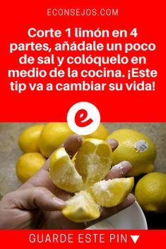 Eliminar olores de casa | Corte 1 limón en 4 partes, añádale un poco de sal y colóquelo en medio de la cocina. ¡Este tip va a cambiar su vida!