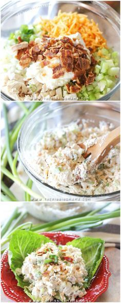 You have never had chicken salad like this! This loaded chicken salad recipe is one of the best tasting things I have ever eaten. It disappears anytime I made it for a potluck or barbecue!(Chicken Dishes For Dinner) Bariatric Recipes, Ketogenic Recipes, Diet Recipes, Cooking Recipes, Healthy Recipes, Recipies, Bariatric Eating, Ketogenic Diet, Paleo Diet