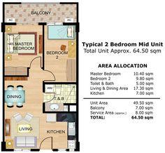 Cedar Crest - 2-Bedroom Special Unit Floor Plan #realEstate #condo #condoForSale #manilacondo www.mymanilacondo.com/