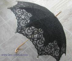 """victorian parasols   Lace-Parasols: """"Augusta"""" Black Victorian Parasol"""