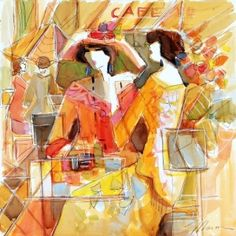 ISAAC MAIMON - Watercolor Originals - Sunshine Cafe