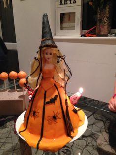 Halloween witch birthday cake with a barbie doll