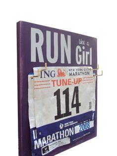 Race Bibs Hanger: run like a girl.