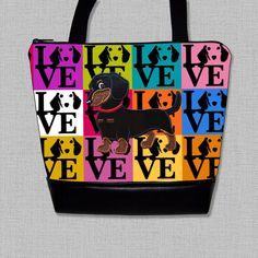 Dachshund Purse with Appliqued Flirty Black and Tan Smooth Hair Dachshund - Dachshund Handbag-Bag Made to Order by OscarsCreations on Etsy