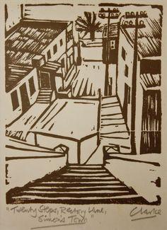 Twenty steps Rectory Lane Simons Town Peter Clarke South African Art, Brutalist, Urban Art, Art And Architecture, Printmaking, Carving, Fine Art, City, Masters