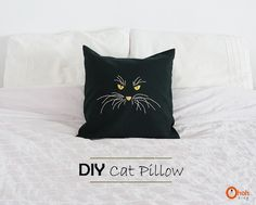 Free tutorial for embroidered kitty pillow