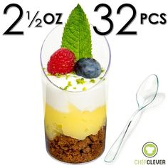 Mini Dessert Cups, Appetizer Bowls with mini spoons, FREE Recipe e-Book [Clear Plastic, 2.5 oz, Round Slanted, 32 Count] Small Catering Supplies, Disposable Parfait Tasting Shooters Tumblers Glasses -- Learn more by visiting the image link.