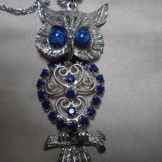 Stunning Vintage Articulated Owl Blue Crystal Pin