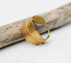 Golden FEATHER Ring Romantic Vintage Style Leaf by redtruckdesigns, $19.95