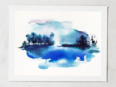 "Original painting 5""x7"", lake scene, original, maine painting, watercolor landscape, abstract landscape painting, landscape, painting trees"