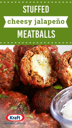 Stuffed Cheesy Jalapeño Meatballs — Spice things up with this flavorful combination of ground beef, jalapeño cheese spread, and salsa. As the perfect party appetizer, this recipe is sure to be your new go-to when entertaining. Meatball Recipes, Beef Recipes, Cooking Recipes, Appetizers For Party, Appetizer Recipes, Dinner Recipes, Jalapeno Recipes, Pepper Recipes, Cheese Spread