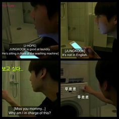 #BTS #방탄소년단 Bon Voyage episode 1 live commentary ❤ Kookie in charge of laundry.