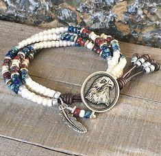 Seed Bead Leather Wrap Bracelet/ American Jewelry/