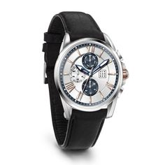 Klokke med Chronograf og skinnrem 10ATM - Gullfunn Watches, Leather, Accessories, Wrist Watches, Wristwatches, Tag Watches, Watch