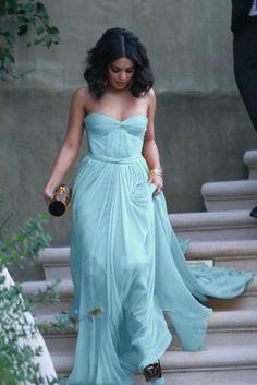 aqua blue dress. I like this color blue
