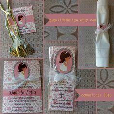 DIY Printable- Girl First  Communion Favor Bookmark. Set de comunion by gugukidsdesign.etsy.com/ gugukidsdesign/facebook.com