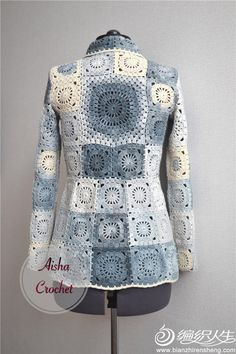 """Aisha Creative"" handmade clothing's photos - Crochet Gilet Crochet, Crochet Coat, Crochet Cardigan Pattern, Crochet Jacket, Crochet Shawl, Crochet Clothes, Crochet Square Patterns, Crochet Squares, Crochet Granny"