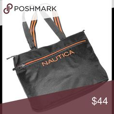 """NWT NAUTICA Maritime Bag tote travel gym beach NAUTICA Tote Color: Gray/Orange Front zippered pocket and inside zippered pocket  Size about 21.5""""x11x7""""   Double handle Drop 10""""  New with tags MSRP $110 Nautica Bags Totes"""