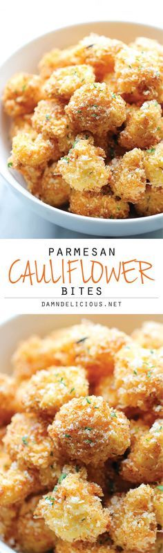 Parmesan Cauliflower Bites - Crisp, crunchy cauliflower bites that even the pickiest of eaters will love. Perfect as an appetizer or snack! (Fried, so not a healthy snack! Parmesan Cauliflower, Cauliflower Bites, Cauliflower Recipes, Vegetable Recipes, Veggie Food, Zucchini Parmesan Crisps, Air Fryer Recipes Vegetables, Cauliflower Tortillas, Gastronomia