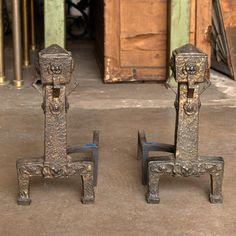 Pair of Arts and Crafts Fireplace Andirons - Columbus Architectural Salvage
