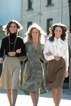 In the 70s, women fought crime in pussy bows and turtlenecks. Kate Jackson, Farah Fawcett and Jaclyn Smith in Charlie's Angels (1976-1981).