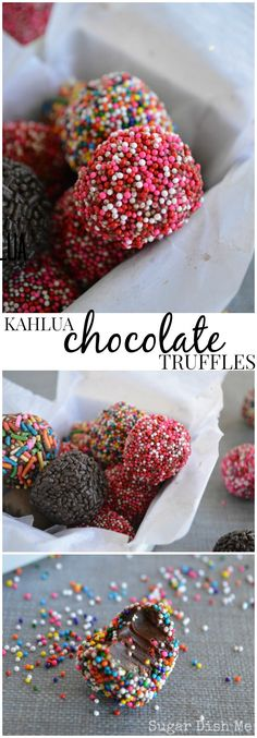 Kahlua Chocolate Truffles - made with just 3 ingredients + sprinkles!!! These make fun gifts , too!