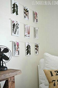hanging botanical prints as wall art