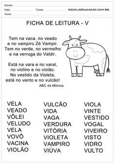 Ficha de Leitura Letra V - Vaca Portuguese Lessons, E 3, Professor, Homeschool, Classroom, Caleb, Alice, Reading Activities, Letter Of The Day