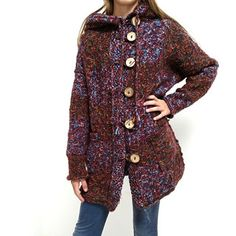 Pletený kabátek Pretty, svetrokabátek Fur Coat, Sewing, Knitting, Pretty, Sweaters, Jackets, Fashion, Down Jackets, Moda