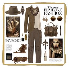 """""""New feminine"""" by eereich ❤ liked on Polyvore featuring Marc Jacobs, WearAll, Ella Rabener, Versace, Lucky Brand, Maison Michel, NARS Cosmetics, Gorgeous Cosmetics, L'Oréal Paris and Burberry"""