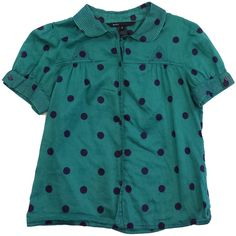 Pre-owned Marc Jacobs Green & Purple Polka Dot Shirt ($77) ❤ liked on Polyvore featuring tops, cotton shirts, polka dot shirt, short-sleeve button-down shirts, short sleeve tops and purple shirt
