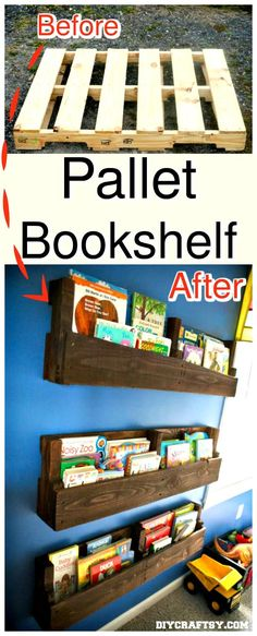DIY Pallet Bookshelf – A Mini Tutorial – 150 Best DIY Pallet Projects and Pallet Furniture Crafts – Page 14 of 75 – DIY & Crafts (Kids Wood Crafts Playrooms) Wooden Pallet Projects, Pallet Crafts, Wooden Pallets, Diy Crafts, Pallet Wood, Pallet Playroom Ideas, Garden Crafts, Mini Pallet Ideas, Pallet Ideas