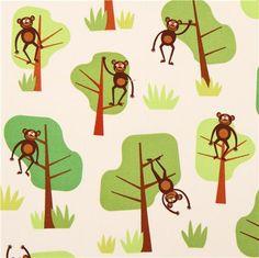 yellow Jungle Party monkey animal fabric by Robert Kaufman Pet Monkey, Rement, Jungle Party, Cute Stationery, Kawaii Shop, Robert Kaufman, Jungle Animals, Tree Designs, Dark Colors