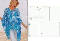 TÚNICA COM DECOTE EM BICO O desenho desta túnica com decote em bico facilita a modelagem. Túnica simples de cortar mas muito versátil. Esta túnica é um clá