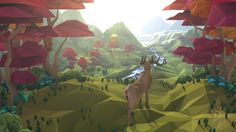 Low poly landscape. Cinema 4D. My first simulated landscape. Мой первый смоделир&#108...