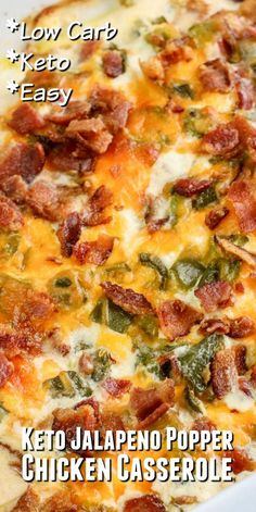 Keto Jalapeno Popper Chicken Casserole This keto jalapeno popper casserole has layers of chicken, jalapeno, heavy cream and cheese! A quick and easy low carb casseroel that tastes just like a jalapeno popper! Low Carb Diets, Healthy Low Carb Recipes, Ketogenic Recipes, Diet Recipes, Cooking Recipes, Dessert Recipes, Chicken Recipes, Radish Recipes, Xmas Recipes