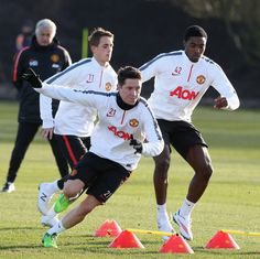 Ander Herrera, Adnan Januzaj and Antonio Valencia get put their paces at @manutd's Aon Training Complex, sporting the brand new training kit. Buy it now by clicking on this Pin.